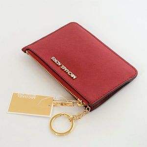 Michael Kors JST Coin Pouch ID Wallet Red Scarlet